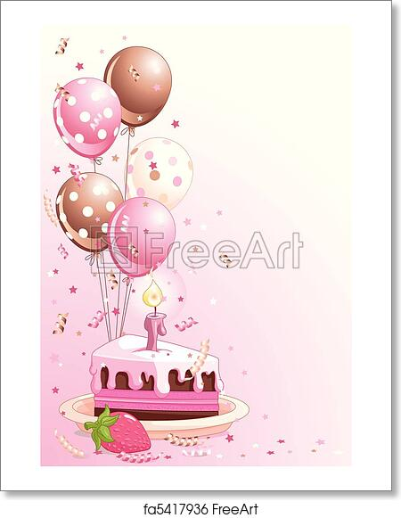 Clipart Pink Lustration Of A Slice Birthday Cake With Balloons And Confetti