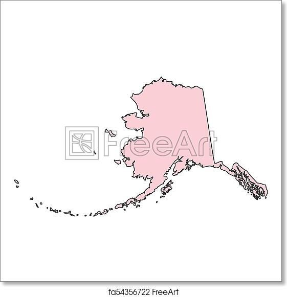 Free Art Print Of Alaska Map Isolated On White Background Silhouette