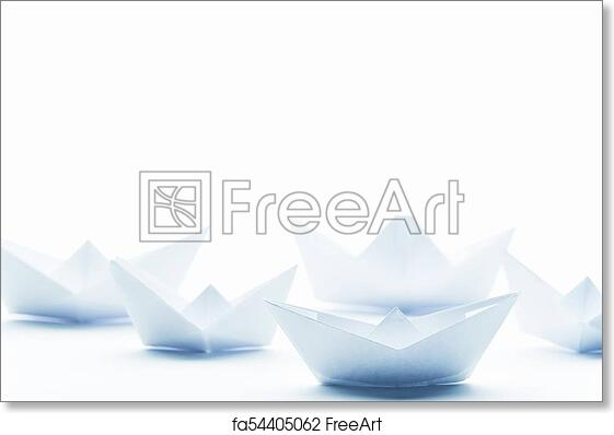 Free Art Print Of Paper Boats On A White Matte Background Freeart