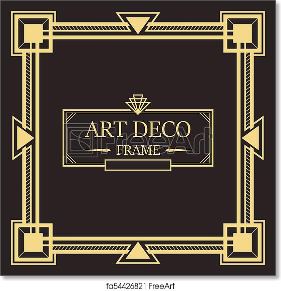 Free art print of Art deco border and frame template.