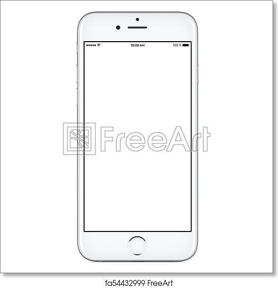 Free art print of IPhone style front view of white mobile smart phone  mockup with blank screen