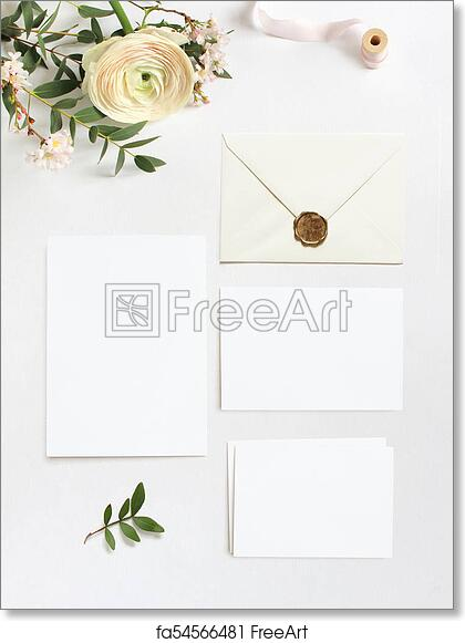 Free art print of feminine wedding birthday desktop mock ups blank blank greeting cards envelope eucalyptus branches pink cherry tree blossoms and persian buttercup flowers white table background flat lay top view m4hsunfo