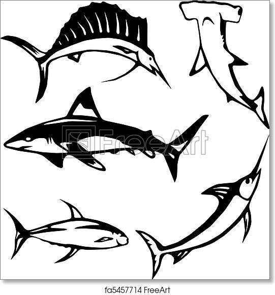 graphic about Give Me Five Poster Printable Free named Totally free artwork print of 5 significant ocean fish