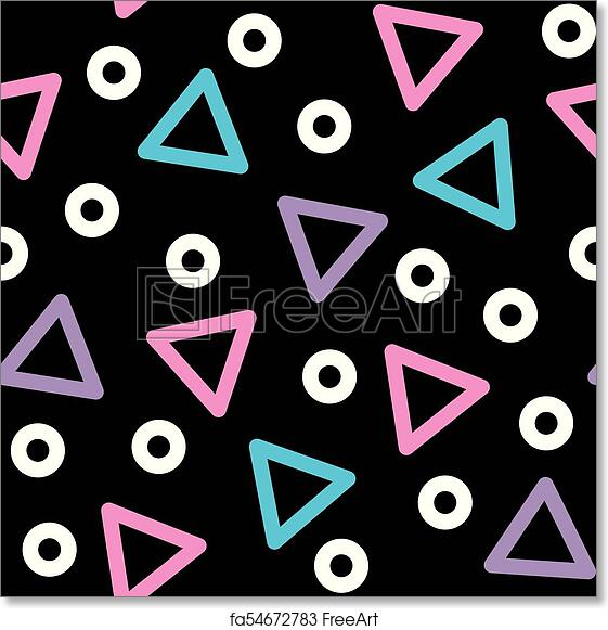 Free art print of Triangle vector seamless pattern - 80s, 90s style  background with geometric shapes