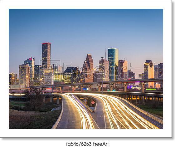Skyline Apartments Houston: Free Art Print Of Houston, Texas, USA Skyline And Highway