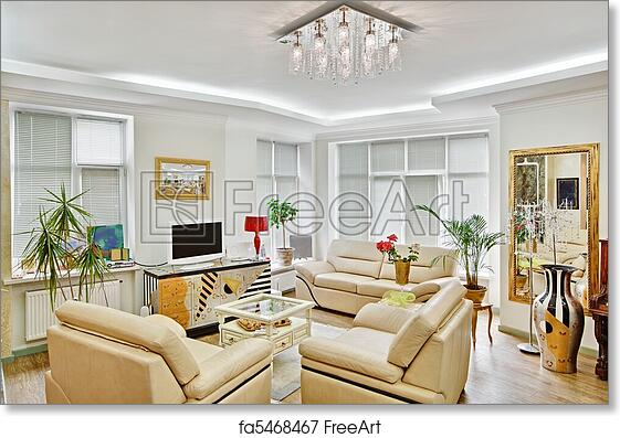 Free art print of Modern art deco style drawing-room interior with beige  leather furniture and TV
