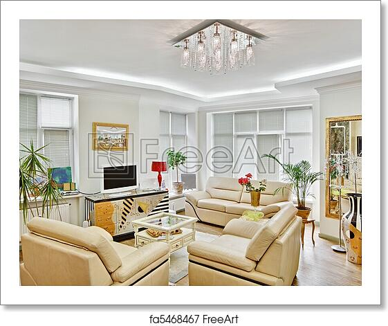 Free Art Print Of Modern Art Deco Style Drawing Room Interior With Beige Leather Furniture And Tv Freeart Fa5468467