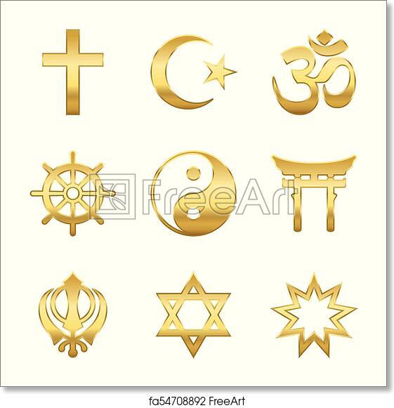 Free Art Print Of Golden Religious Symbols Golden World Religion