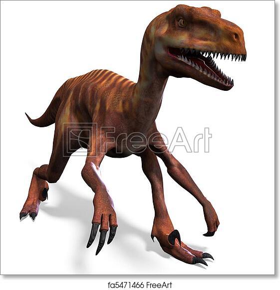 Dinosaur Deinonychus E 3d Rendering Art Print Home Decor Wall Art Poster