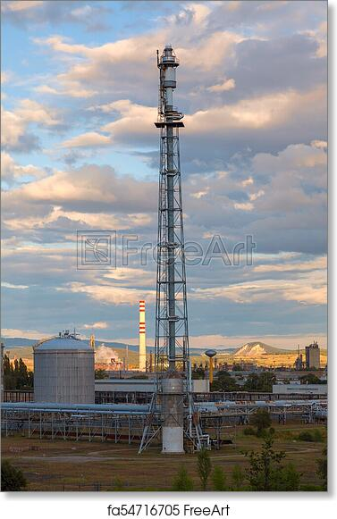Free art print of Flare stack at oil and gas refinery plant