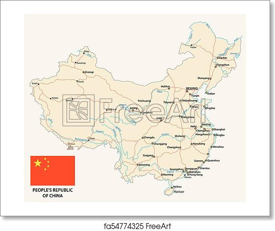 Free Art Print Of People S Republic Of China Road Vector Map With