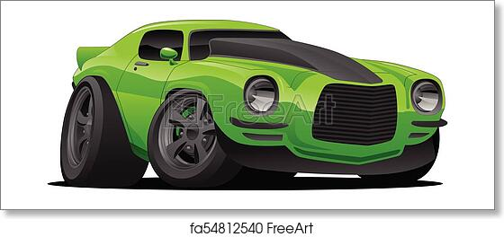 Free Art Print Of Muscle Car Cartoon Illustration Hot American