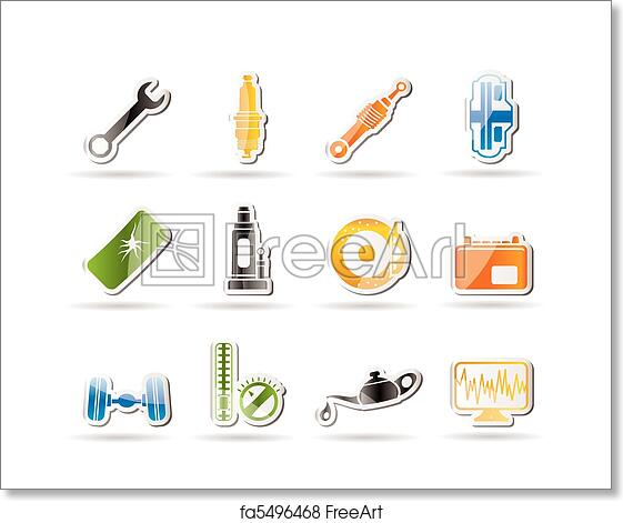 Free Art Print Of Simple Car Parts And Services Icons Simple Car