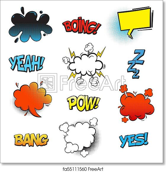 Free art print of Bang comic bubble speech and smash, omg and pow