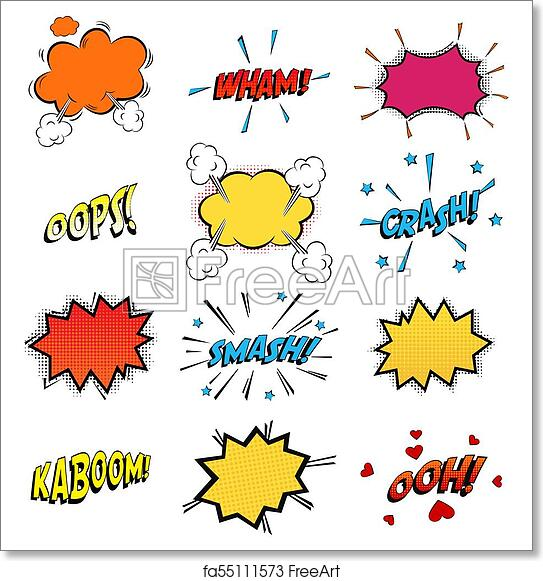 Free art print of Onomatopoeia comics sounds in clouds for emotions and  kaboom explosion  Steaming oops and wham sound, heart for ooh and stars for