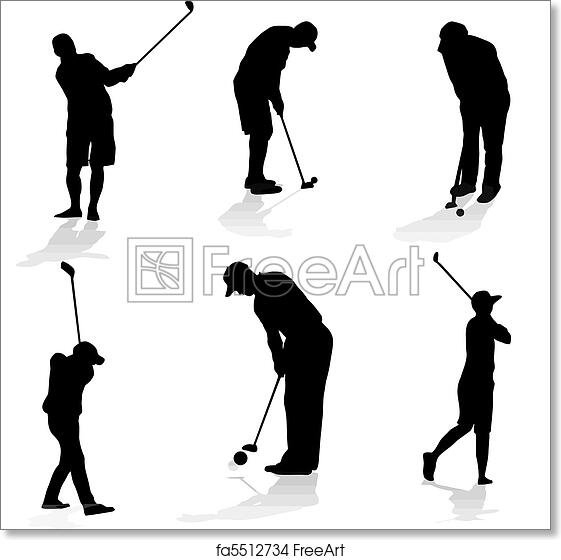 Free Art Print Of Golf Players Silhouette Collection Of Golfer