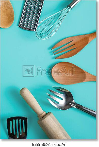 Free Art Print Of Group Of Kitchen Utensils On Blue Pastel Background