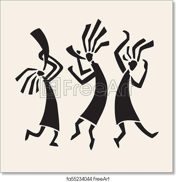 free art print of silhouette of musicians and dancers stylized
