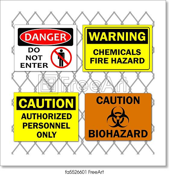 Free art print of Image of various danger and caution signs on a chain link  fence background