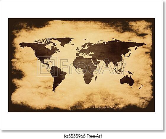 Free art print of world map on grunge background freeart fa5535966 free art print of world map on grunge background gumiabroncs Choice Image
