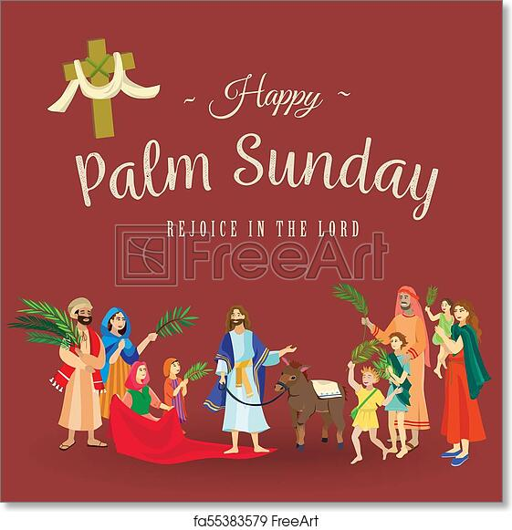 Free art print of religion holiday palm sunday before easter free art print of religion holiday palm sunday before easter celebration of the entrance of jesus into jerusalem happy people with palmtree leaves vector m4hsunfo