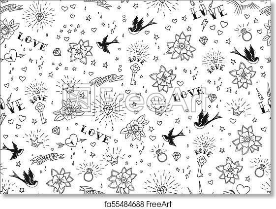 Free Art Print Of Old School Tattoos Seamles Pattern With Birds