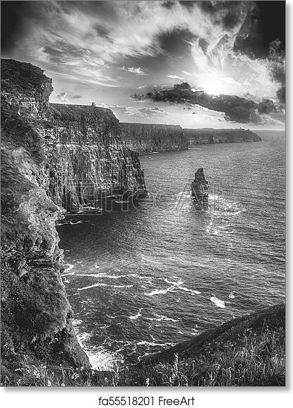 Free art print of epic black and white photograph of the world famous cliffs of moher in county clare ireland