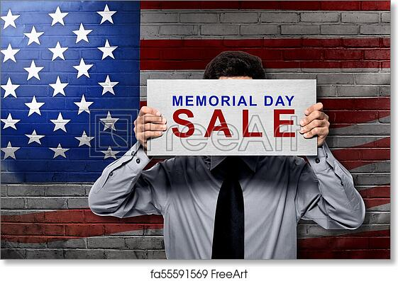 picture about Closed for Memorial Day Printable Sign called Absolutely free artwork print of Businessman retaining board with memorial working day sale indication