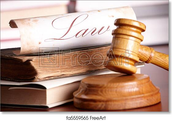 Free Art Print Of Judges Gavel With Very Old Books