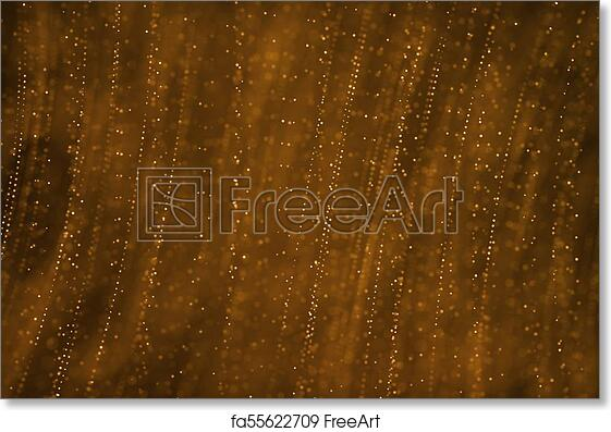 Free Art Print Of Christmas Gold Gradient Sparkle Glitter Dust Particles From Top On Black Background With Bokeh Flowing Movement Golden Holiday