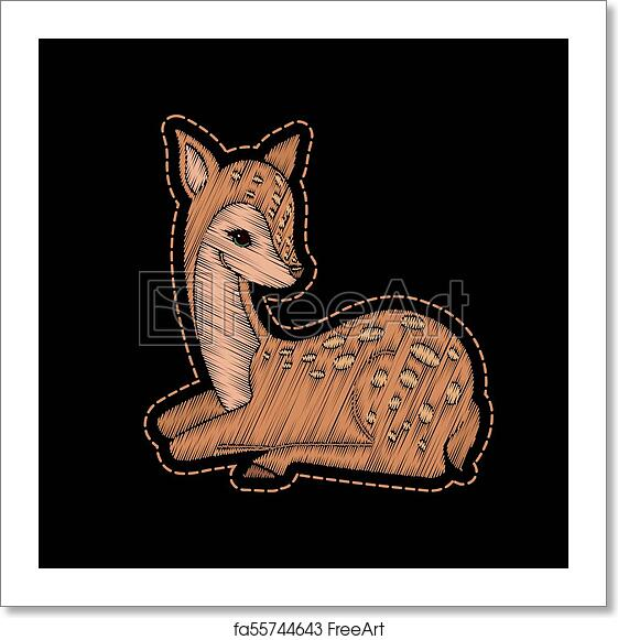Free Art Print Of Cute Embroidered Deer For Fashion Design Cute Embroidered Deer For Fashion Design Decorative Element For Patches Stickers Badges Embroidery And Prints Template For Fabric Clothing And Accessories Vector