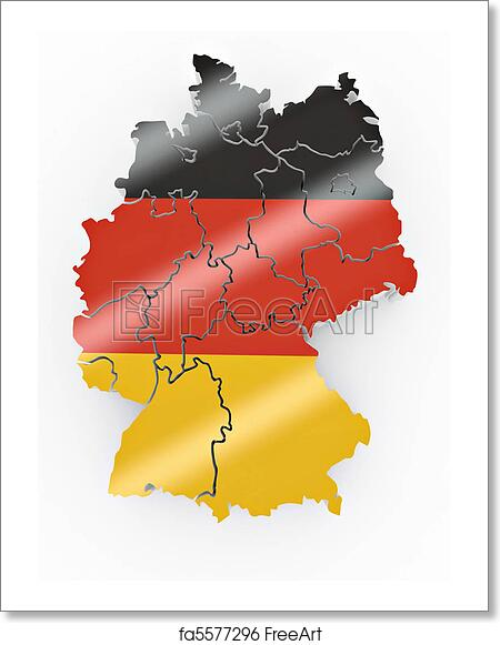 Map Of Germany To Color.Free Art Print Of Map Of Germany In German Flag Colors