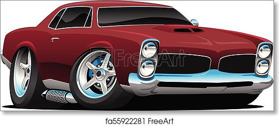 Free Art Print Of Classic American Muscle Car Cartoon Vector
