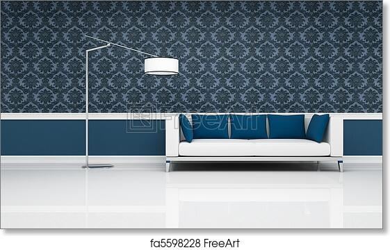 Free art print of Classic interior with modern white and blue sofa ...