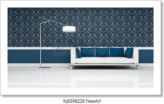 Free art print of Classic interior with modern white and blue sofa