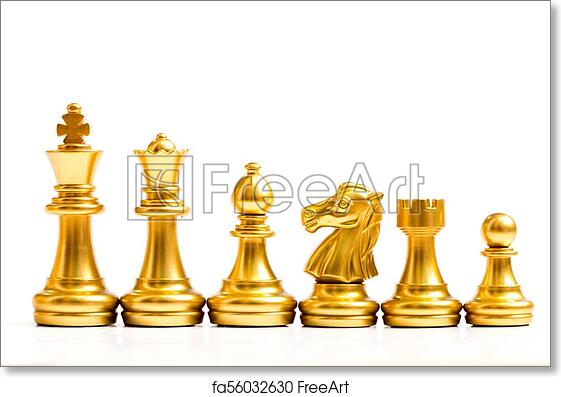 Free art print of Gold chess piece stand in a row (king, queen, bishop,  knight, rook, pawn) on white background
