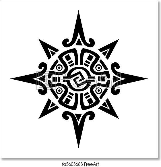 Free Art Print Of Mayan Or Incan Symbol Of A Sun Or Star Mayan Or