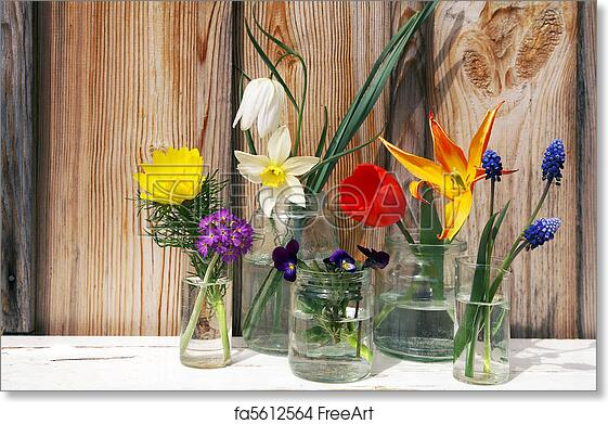 Free Art Print Of Spring Flowers Display On Wood Background A