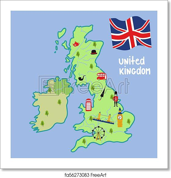 Big Map Of England.Free Art Print Of Vector Map Of Uk England Symbols