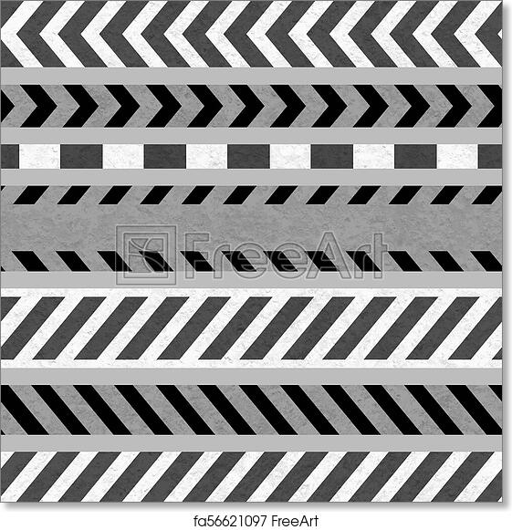 Free Art Print Of Set Of Caution Tapes And Warning Signs Seamless