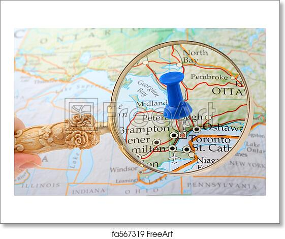 Free art print of Toronto map tack. Magnifying glass over Toronto ...