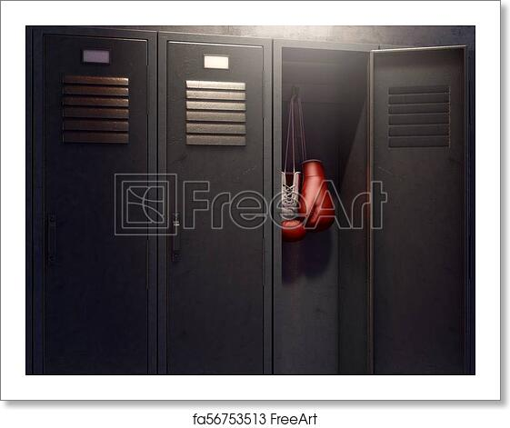 Free Art Print Of Open Locker And Hung Up Boxing Gloves