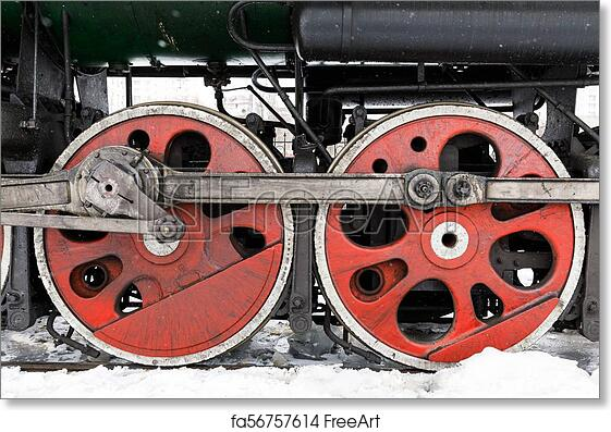 Free art print of Red wheel and detail of mechanism a vintage russian steam  train locomotive