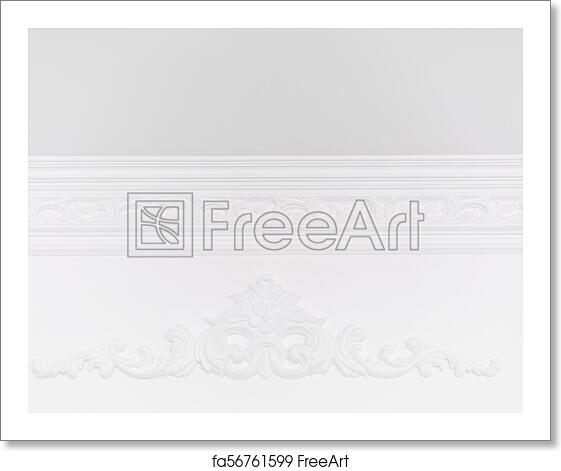Free art print of Stucco elements on white wall  Luxury design with  mouldings  Beautiful ornate white decorative plaster in studio