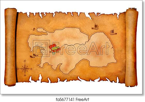 picture relating to Treasure Map Printable identified as Cost-free artwork print of Pirates treasure map
