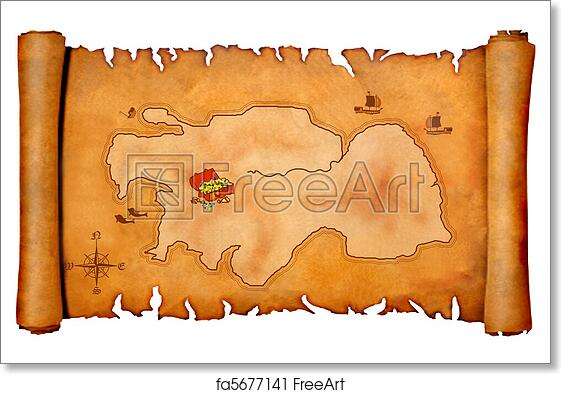 image relating to Free Printable Pirate Treasure Map identify Cost-free artwork print of Pirates treasure map