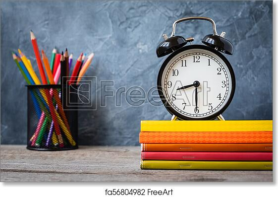 Free art print of 1 September concept postcard, teachers' day, back to  school or college, supplies, alarm clock