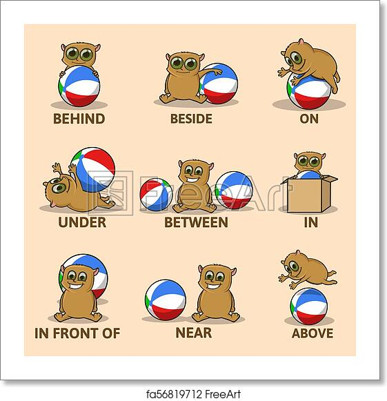free art print of table of prepositions of place with funny animal character english for. Black Bedroom Furniture Sets. Home Design Ideas
