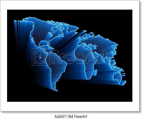 Free Art Print Of Digital World Map 3d World Map With Dots And