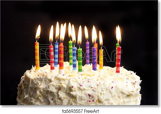 Strange Free Art Print Of Birthday Cake And Candles On Black Background Personalised Birthday Cards Paralily Jamesorg